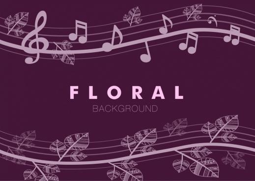 floral music notes seamless pattern violet curves design