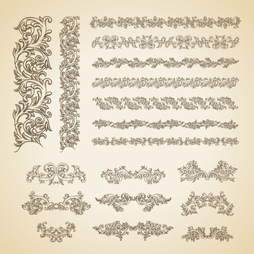 floral ornaments borders design vector