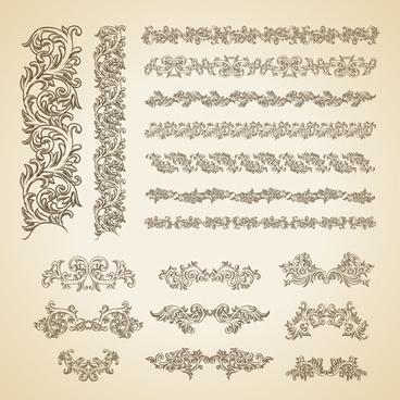 floral ornaments borders design vector