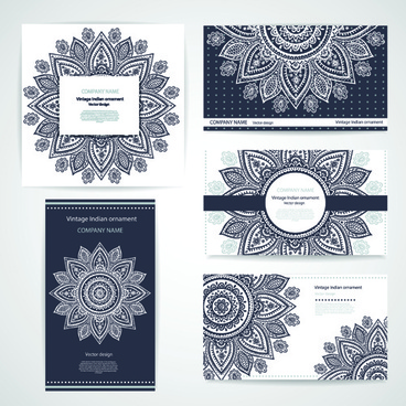 floral ornaments pattern cards vector