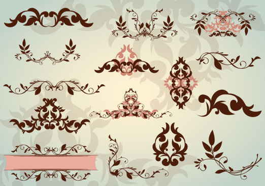 floral ornaments with lace vector