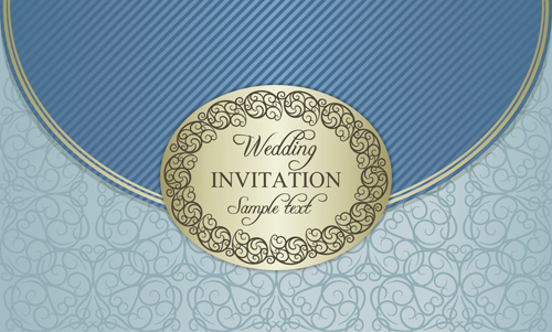 floral ornate wedding invitation cards vector set