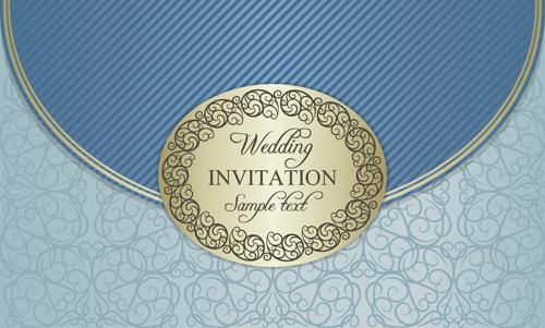 floral ornate wedding invitation cards vector set