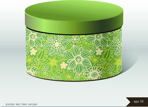 floral package box cover vector