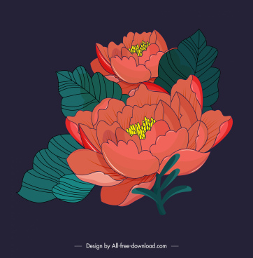 floral painting colored retro sketch
