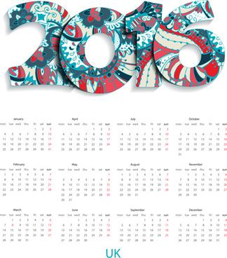 floral pattern calendar16 vector