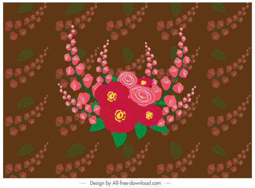 floral pattern classical colorful repeating blurred decor