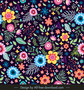 floral pattern colorful blooming messy design
