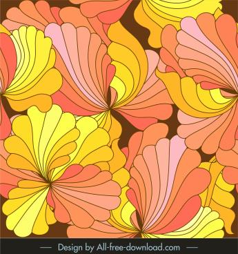 floral pattern colorful closeup retro handdrawn design
