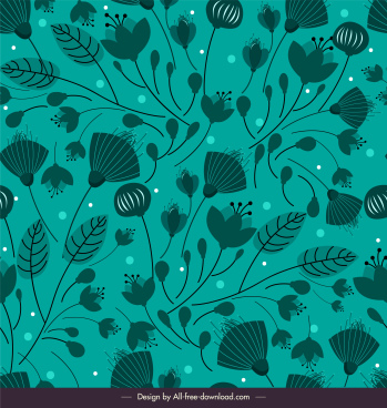 floral pattern flat retro design dark green decor