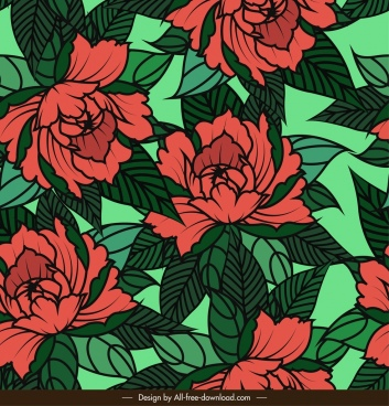 floral pattern green red classical handdrawn sketch
