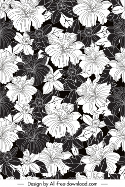 floral pattern template black white retro handdrawn sketch