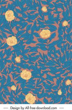 floral pattern template classical handdrawn design