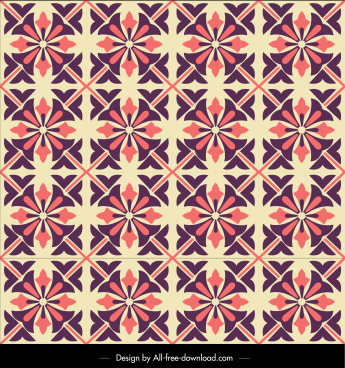 floral pattern template colored classical repeating flat sketch