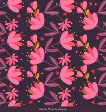 floral pattern template colored dark decor flat classic