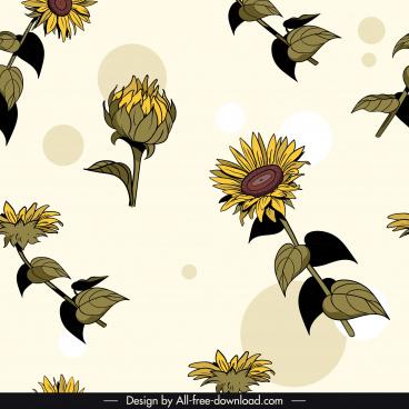 floral pattern template colored retro design