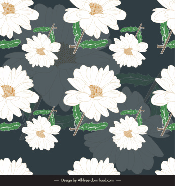 floral pattern template contrast blurred decor classic handdrawn