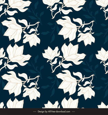 floral pattern template contrast handdrawn blurrred design