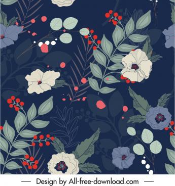 floral pattern template dark colorful vintage handdrawn decor