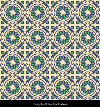 floral pattern template flat classical repeating circles design