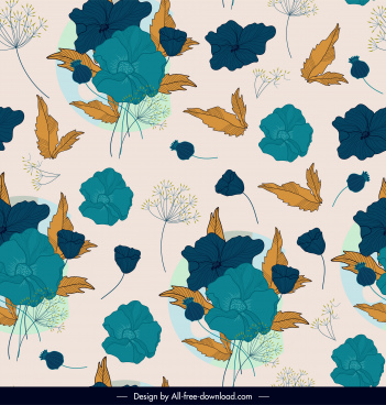 floral pattern template retro repeating handdrawn sketch