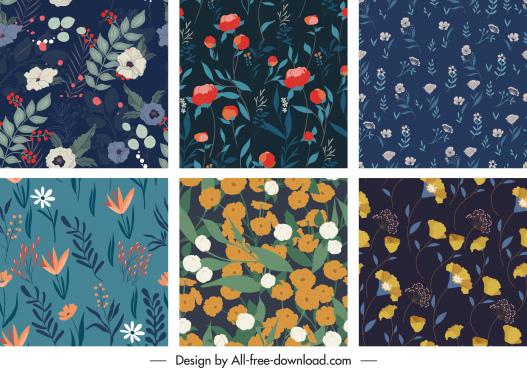 floral pattern templates dark classical decor elegant design