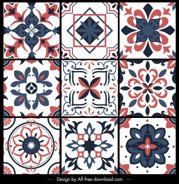 floral pattern templates retro european flat symmetric decor