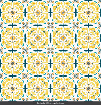 floral pattern yellow classical repeating symmetric illusion