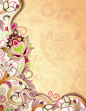 floral patterns retro style background
