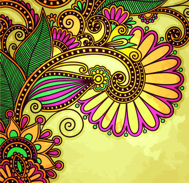 floral patterns with grunge backgrounds vector