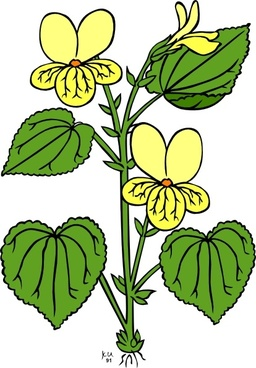 Floral Plant With Green Leaves clip art