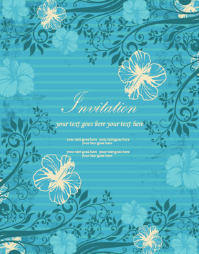 floral retor invitations background vector