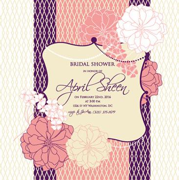 floral romantic wedding card vectors