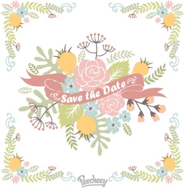 floral save the date illustration