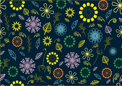 floral seamless pattern various colorful flowers dark backdrop