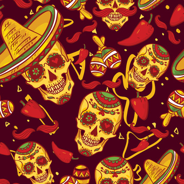 floral skulls seamless pattern vector set