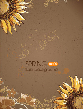 floral spring retro background vector