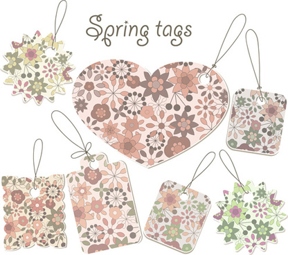 floral spring tags vector
