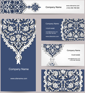 floral style business cards kit vector