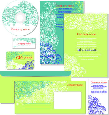 floral style of the company kit vector