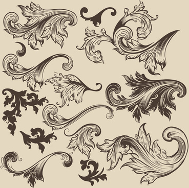floral swirl ornament design vector