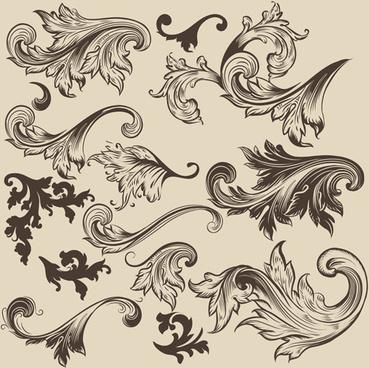 floral swirl ornament design vector