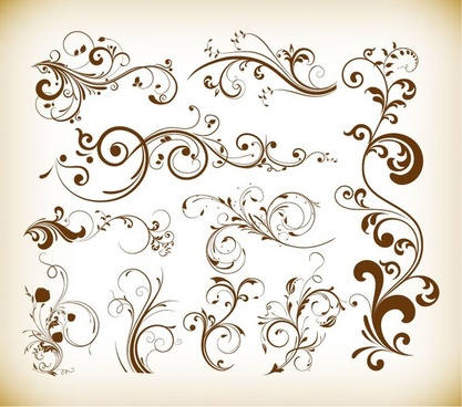 floral swirl vector set