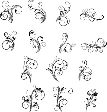 floral swirls ornament vector