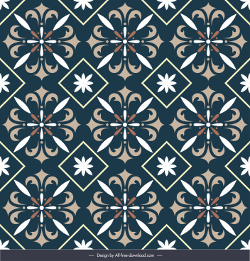 floral tile pattern template elegant dark repeating design