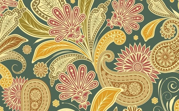 floral pattern design colorful vintage semless style