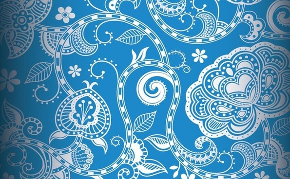 floral pattern background seamless vintage style blue decoration