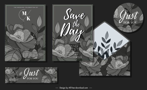 floral wedding card templates elegant dark blooming sketch