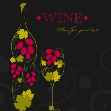 floral wine creative design vector