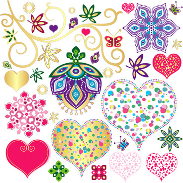 floral with heart pattern vector